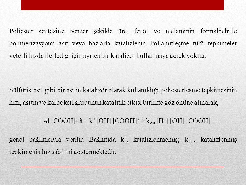 -d [COOH]/dt = k' [OH] [COOH]2 + k [H+] [OH] [COOH]